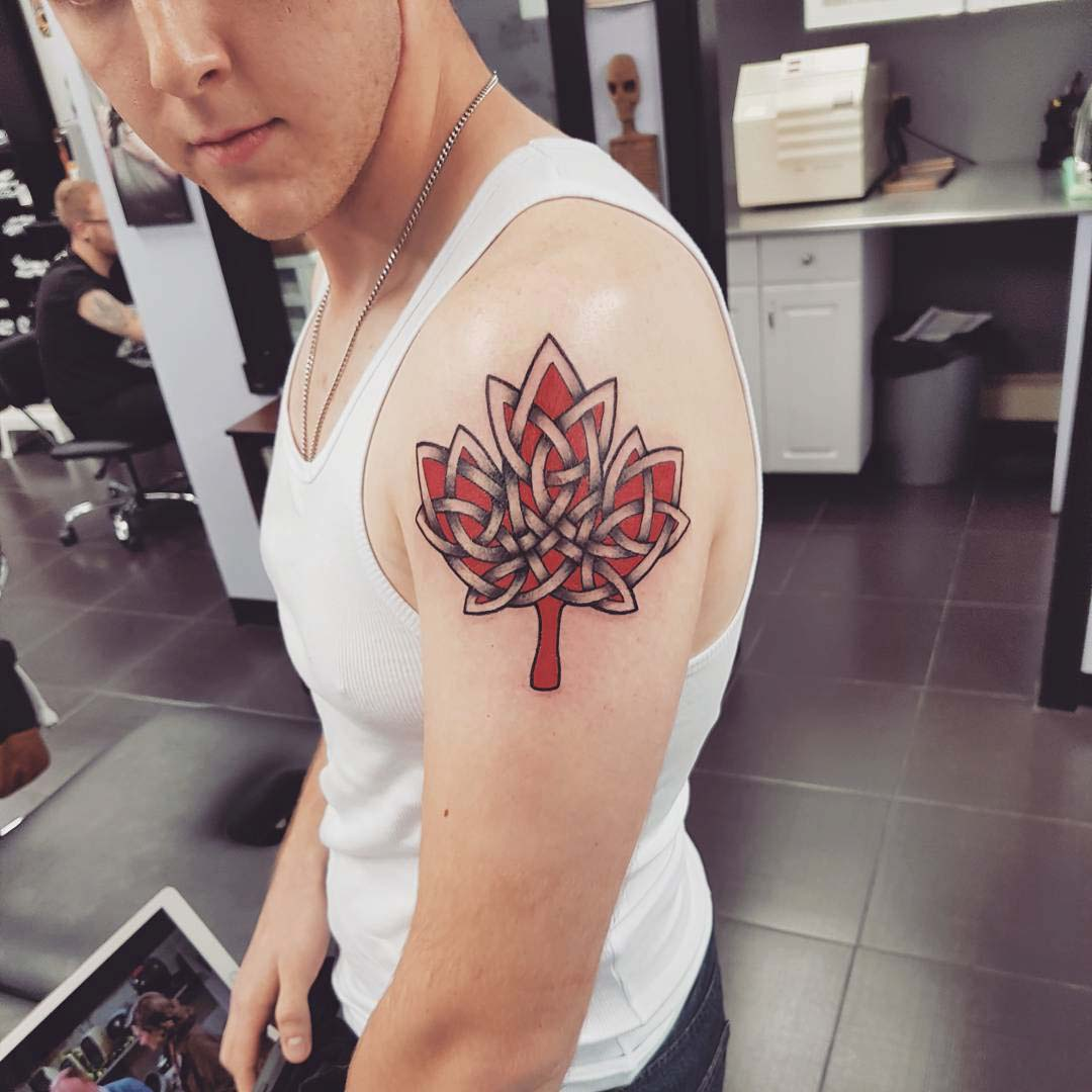 shoulder maple leaf tattoo celtic style
