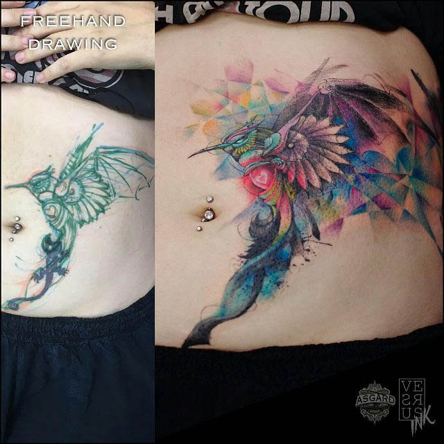 stomach cover-up tattoo hummingbird watercolor style