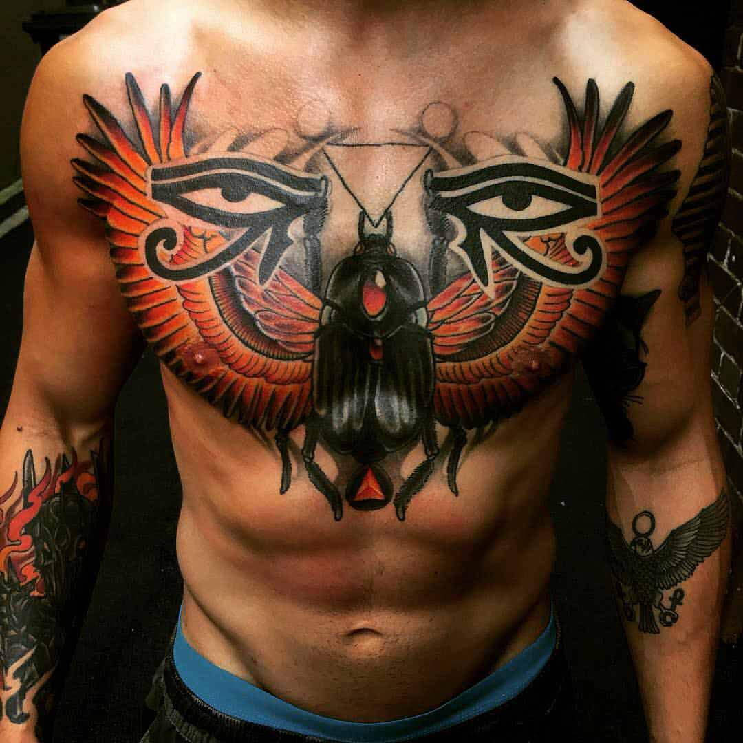 chest tattoo egyptian scarab