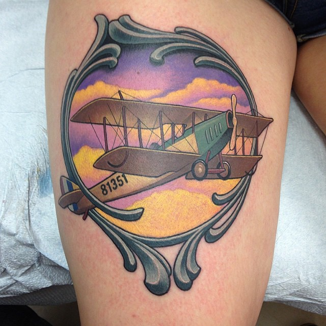 Exquisite Plane Tattoo on Hip by stevetattoos