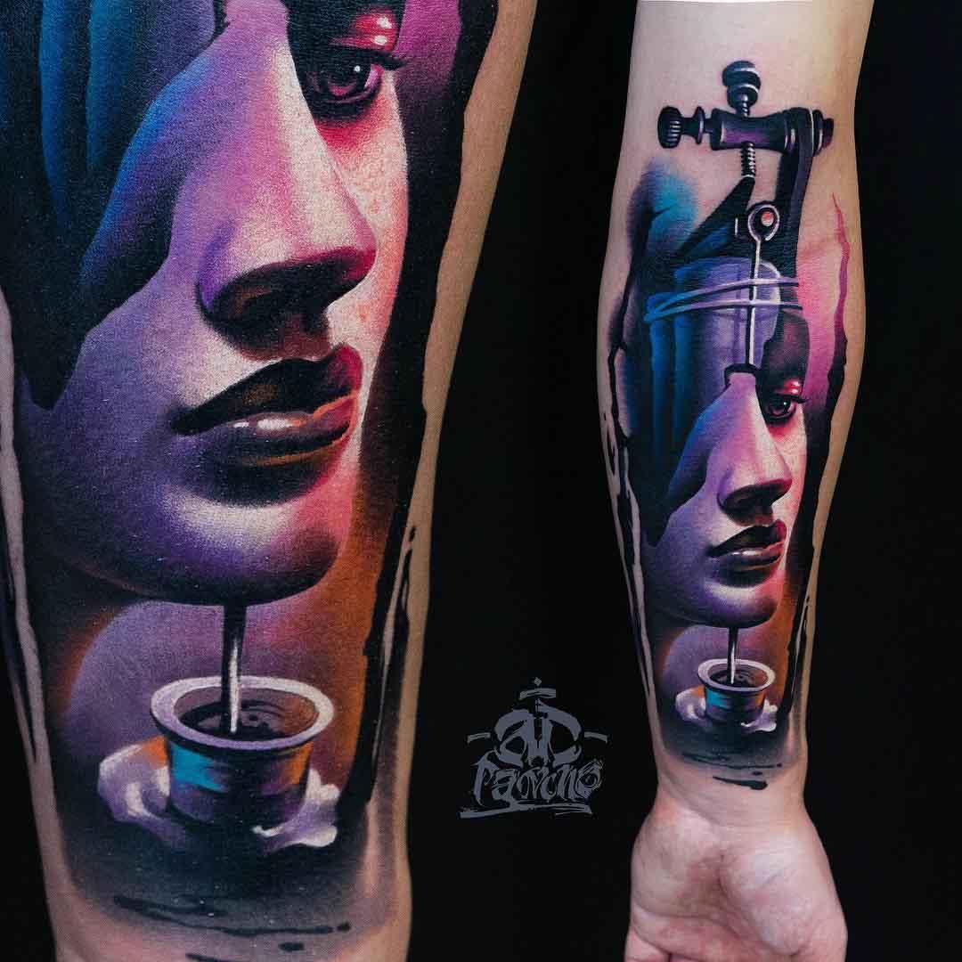 amazing 3D tattoo on forearm