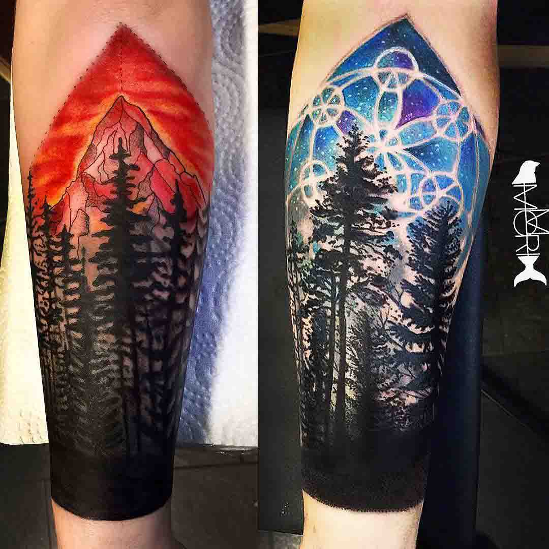 blue and red tattoos of forest designs