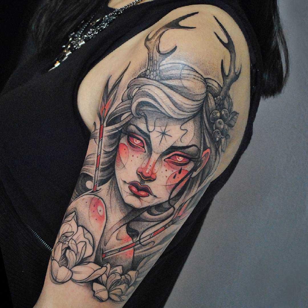 fawn girl tattoo fantasy on shoulder