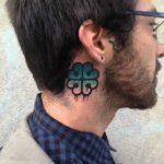 Green Clover Tattoo Behind Ear