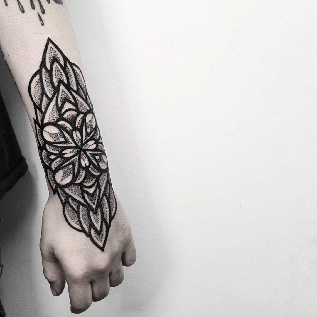 wrist tattoo mandala outer arm