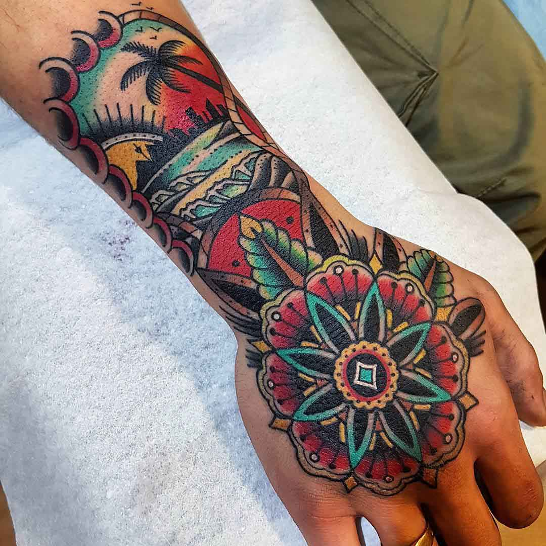 hand tattoo neo-traditional style sea shore