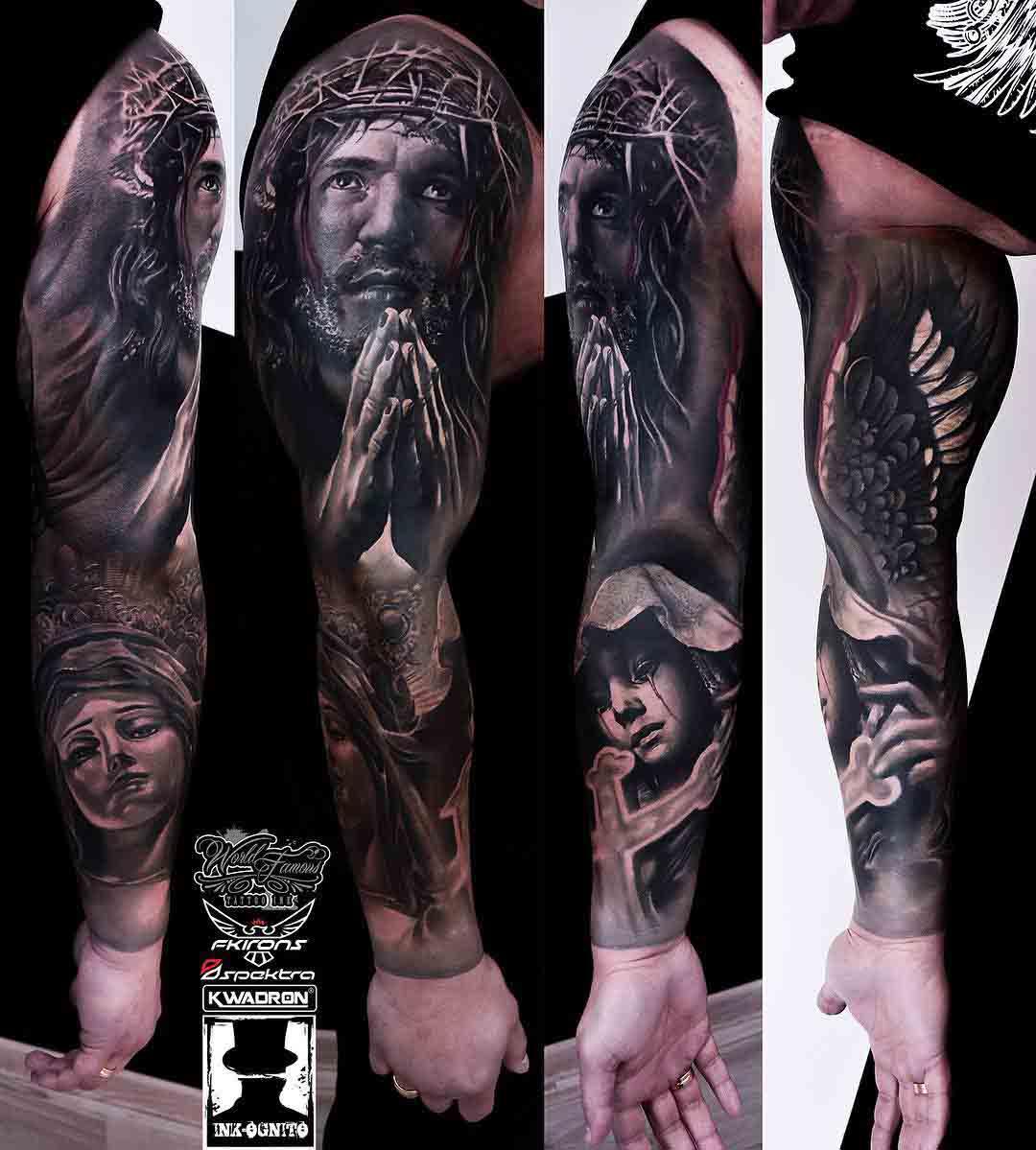 religious sleeve tattoo jesus and mary