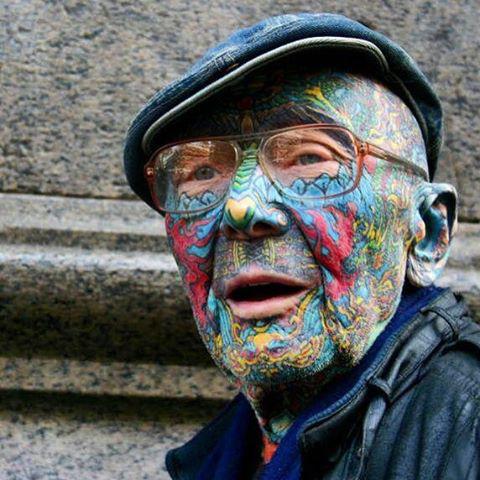 full face tattoo on oldman
