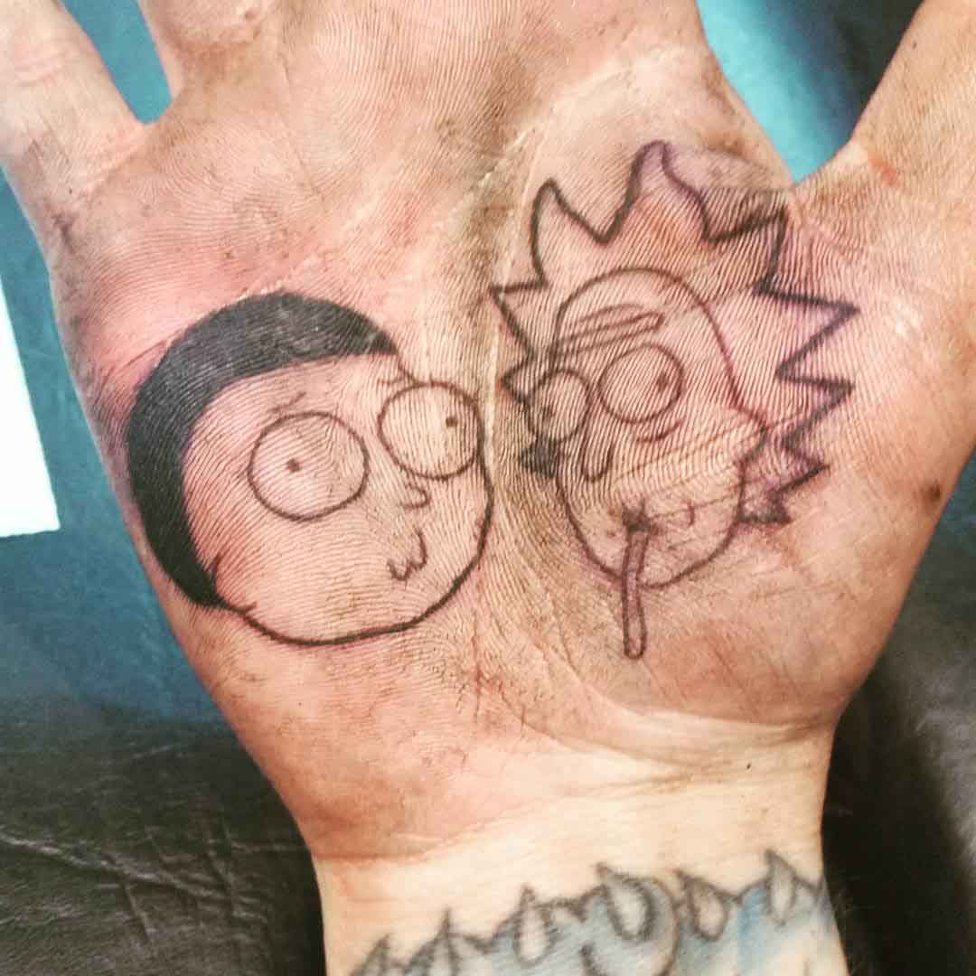 palm tattoo rick and morty tattoo