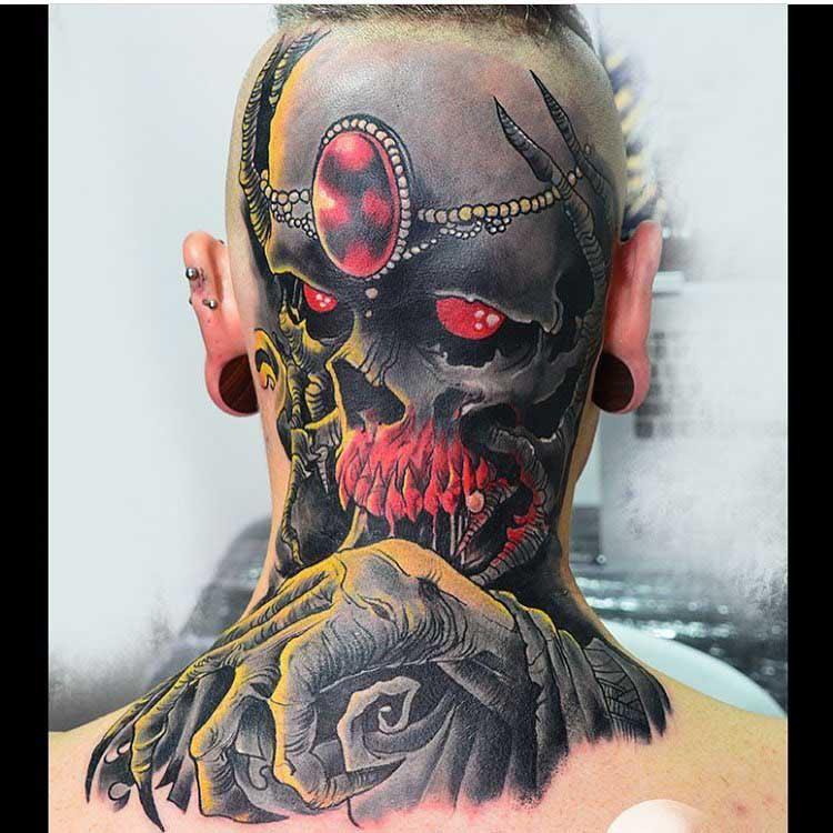 back of head tattoo skull