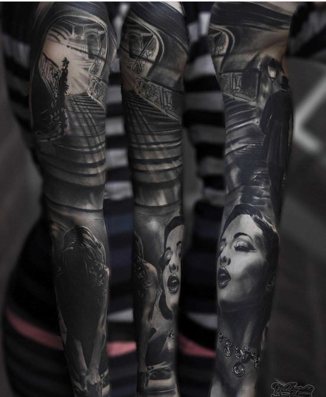 creative tattoo sleeve black and grey