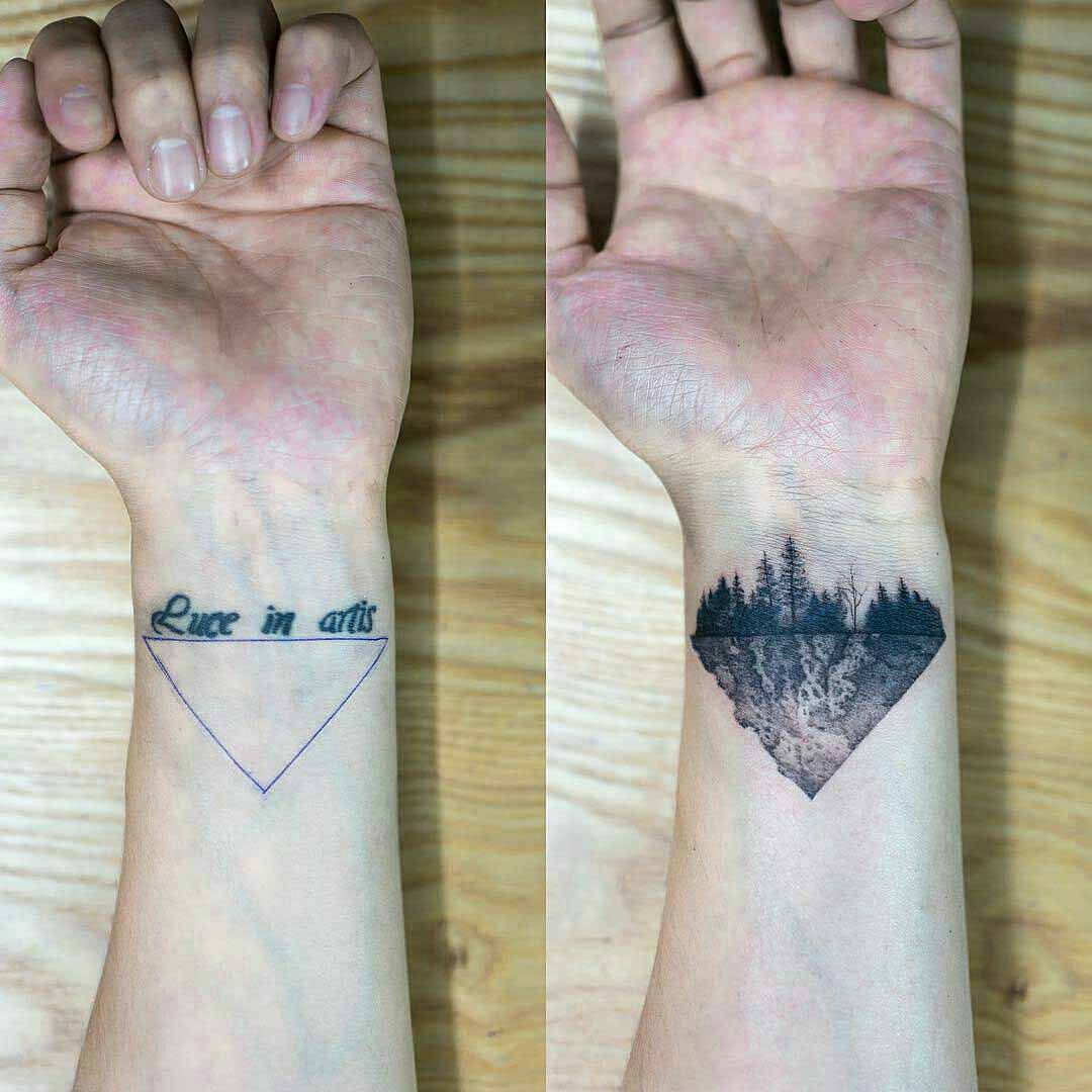 wrist tattoo cover-up triangle forest