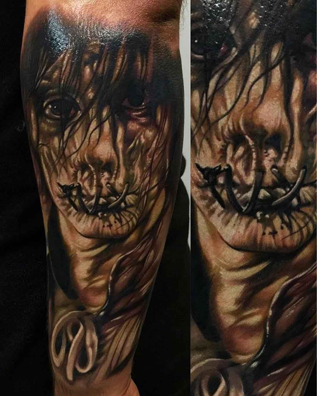 sawed mouth tattoo horror