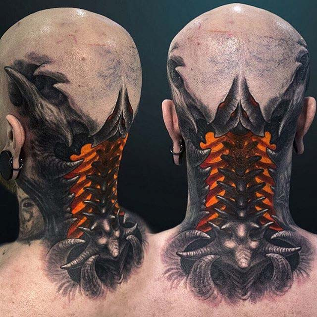Biomechanical tattoo 3D on neck back