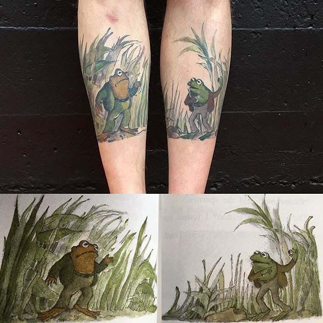 frog tattoos on shin