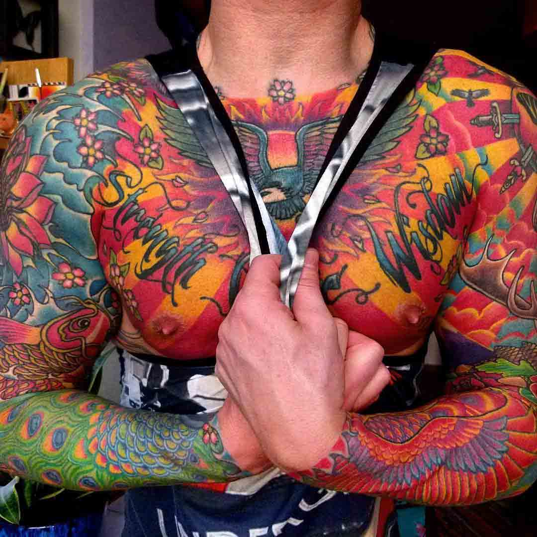 chest body tattoo oriental