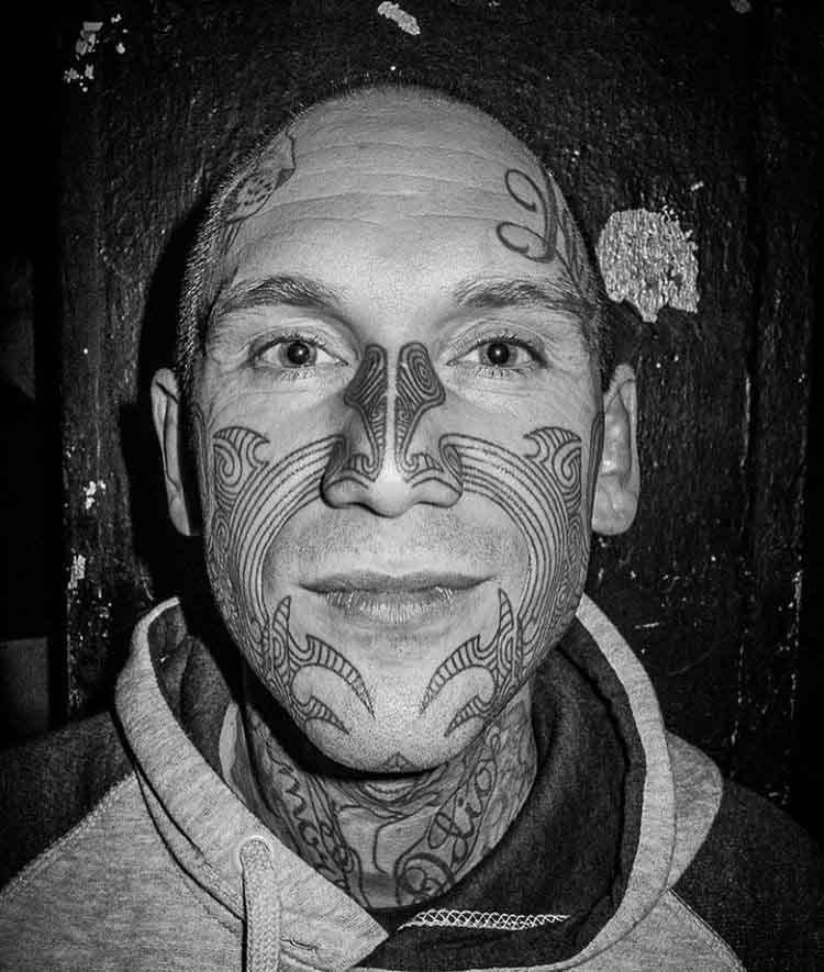 man face tattoo