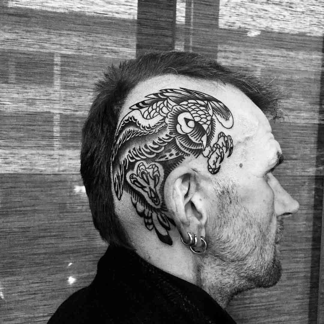 head side tattoo owl