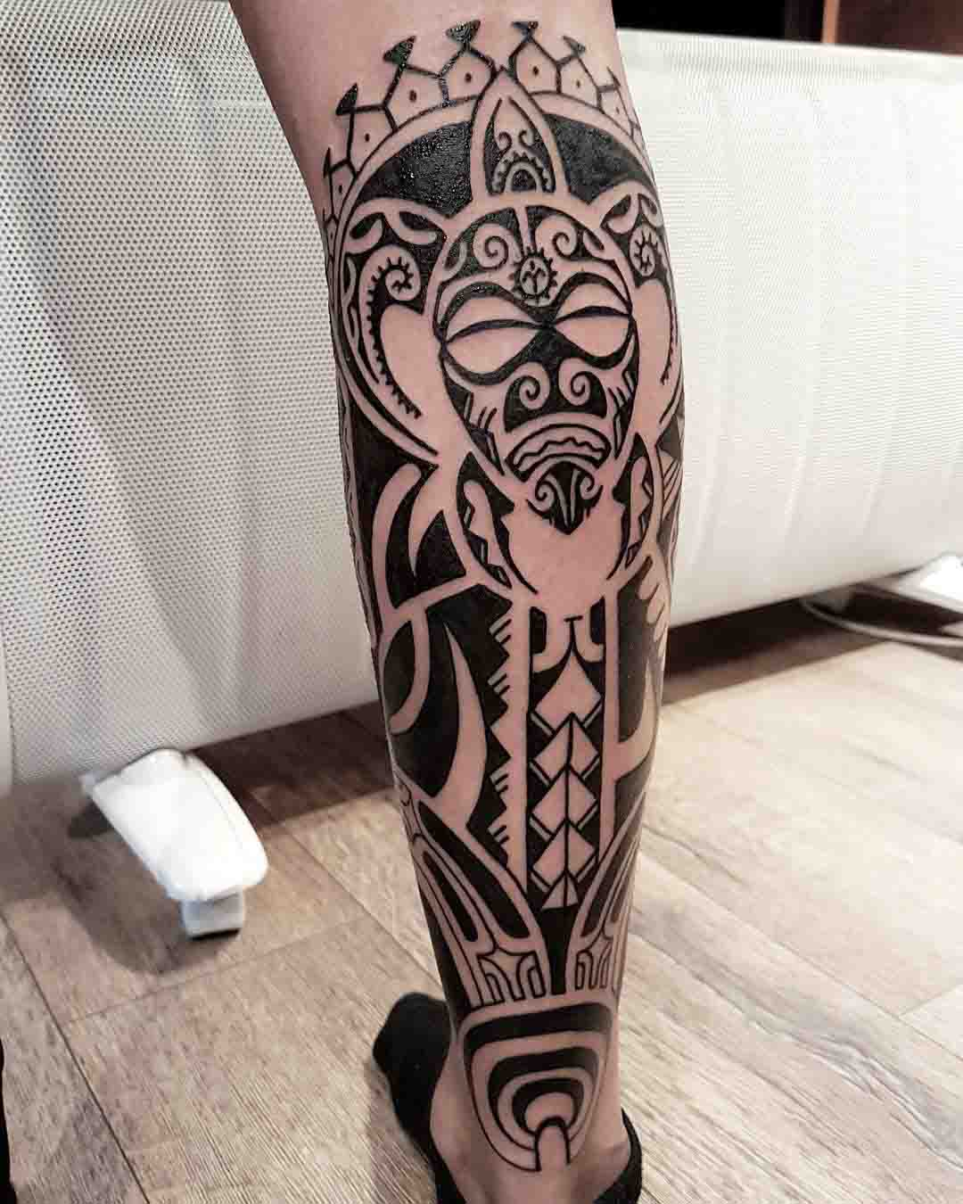 Polynesian tattoo on calf