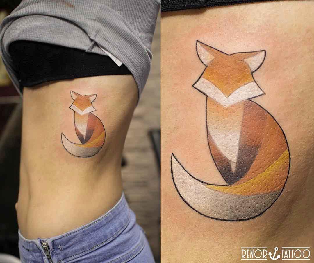 ribs tattoo fox minimalistic