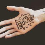 Bang tattoo on palm