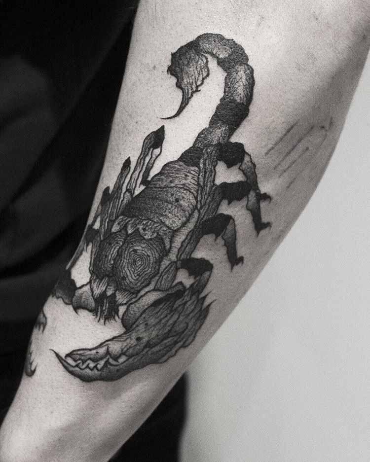 scorpion tattoo dark on forearm