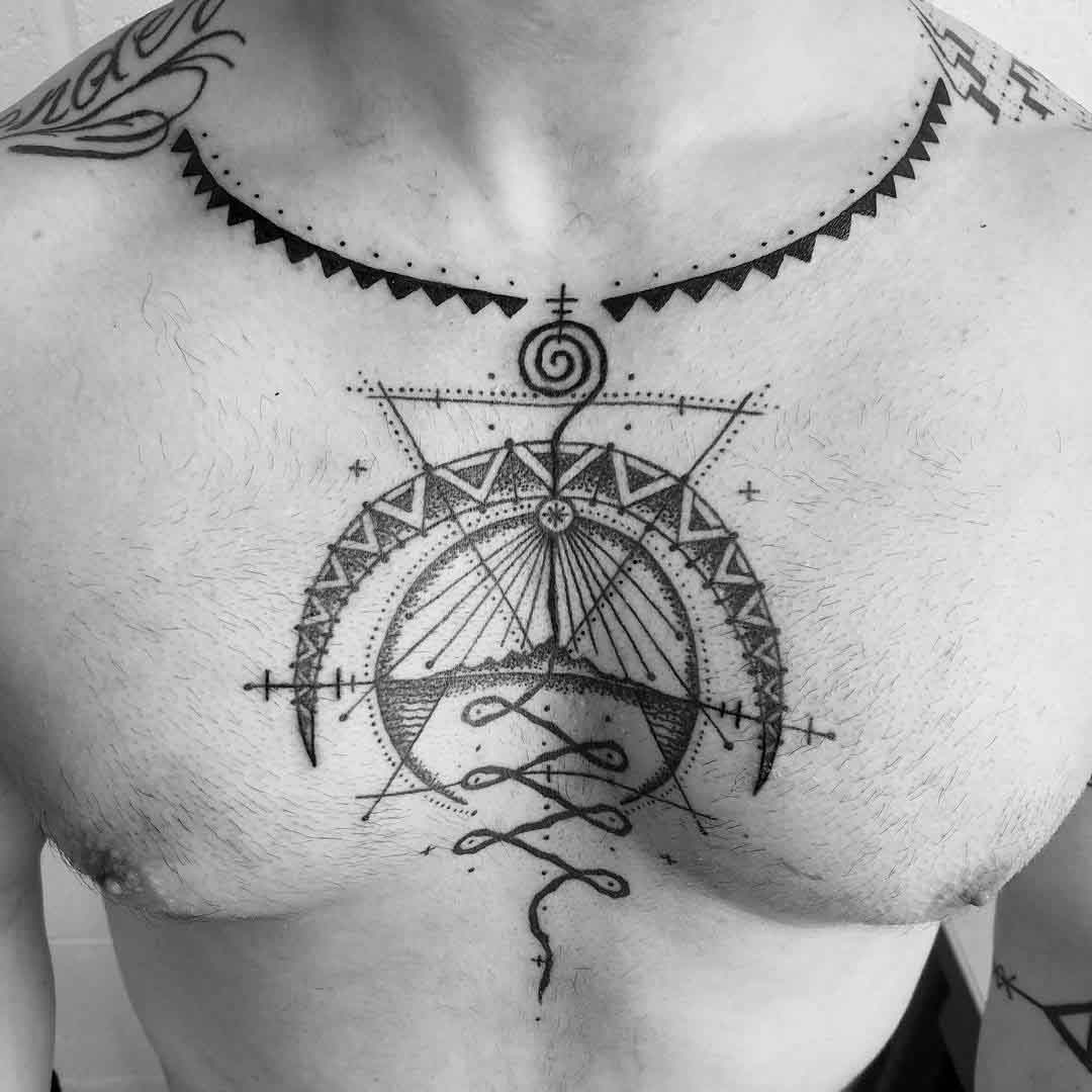 tattoo on chest moon necklace