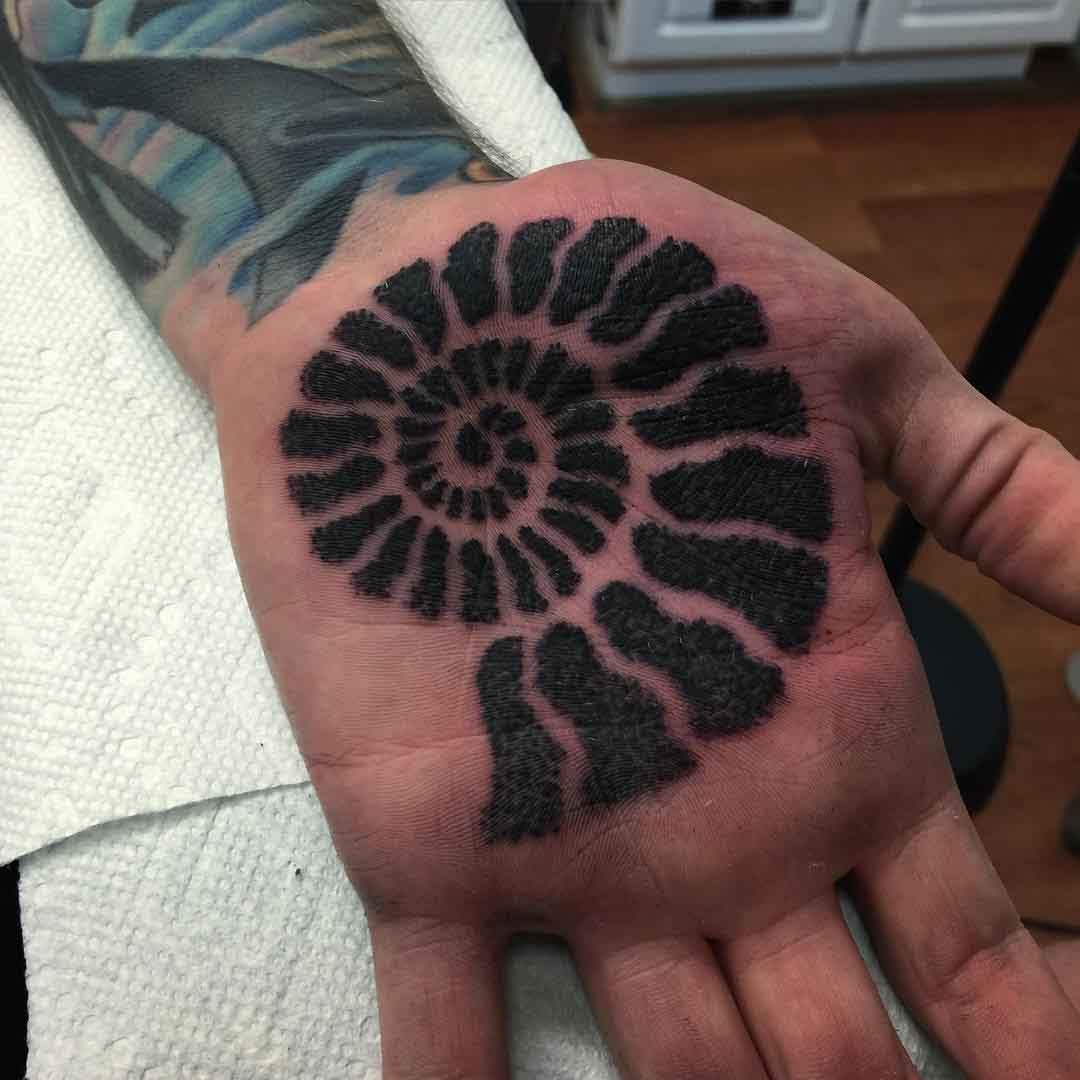 Dotwork Shell Tattoo on Palm by Brenton Potter