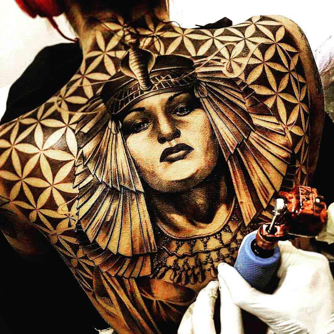 egyptian tattoo on full back