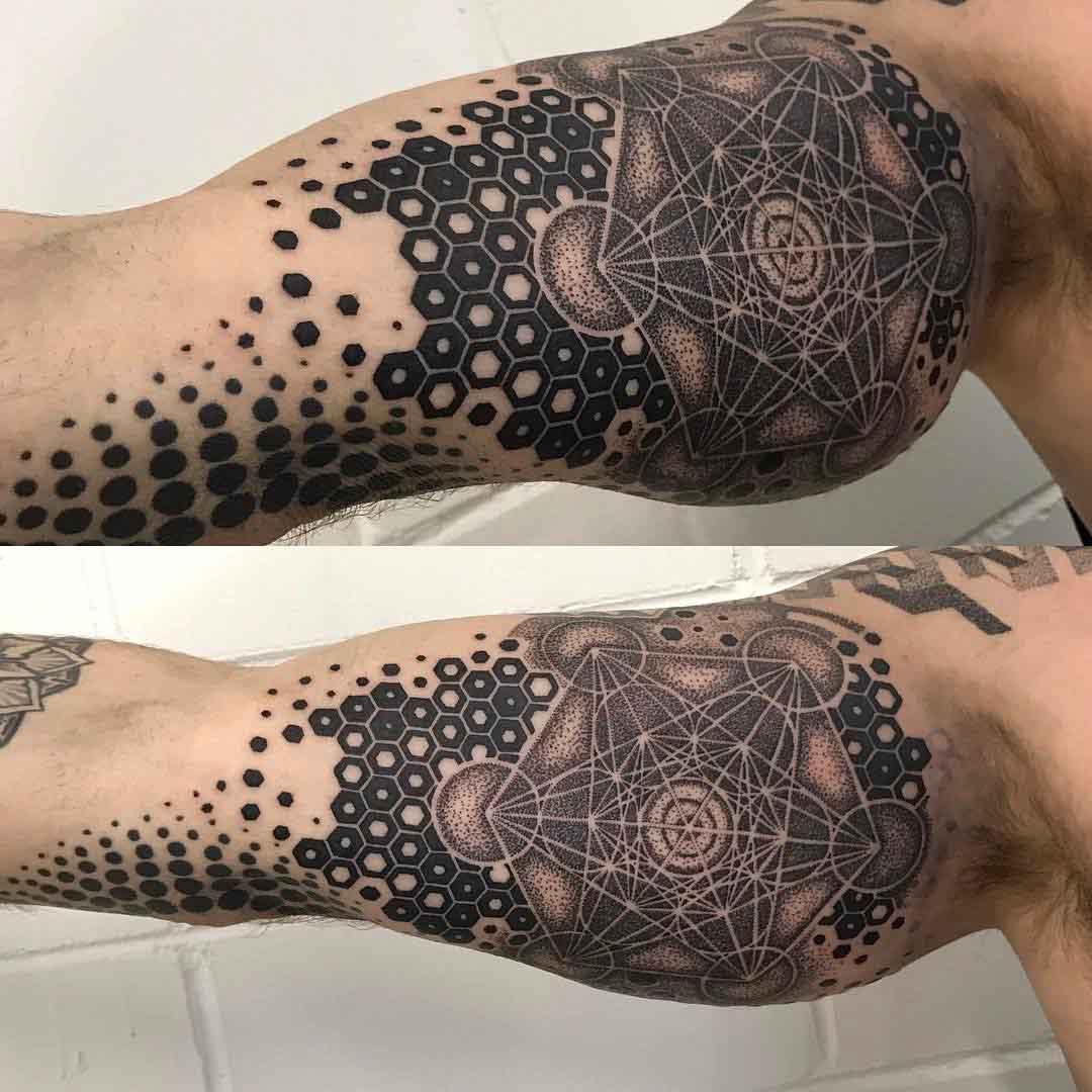 inner bicep tattoo geometry