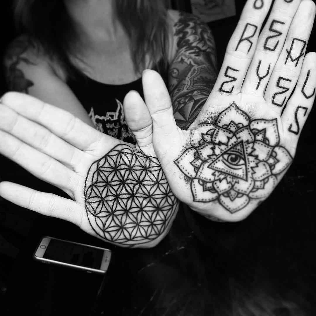 Mandala Tattoo on Palms by Bradreis Tattoo