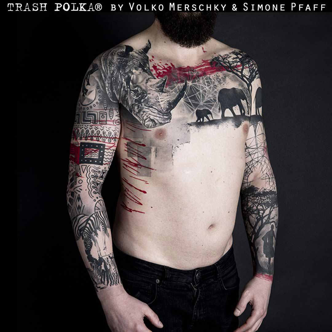 trash polka tattoo rgino on chest and sleeves