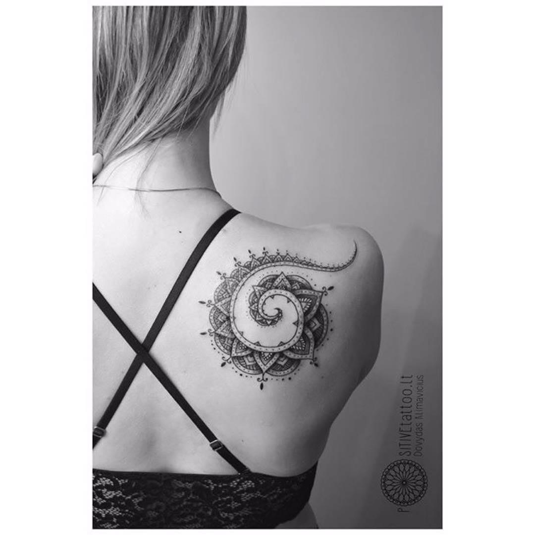 spiral tattoo on shoulder blade