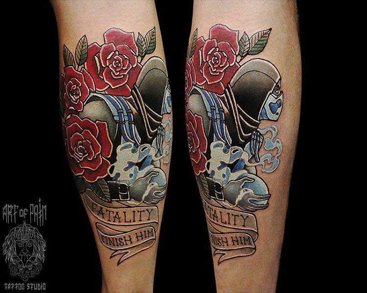 neo-traditional tattoo sub zero Mortal Kombat