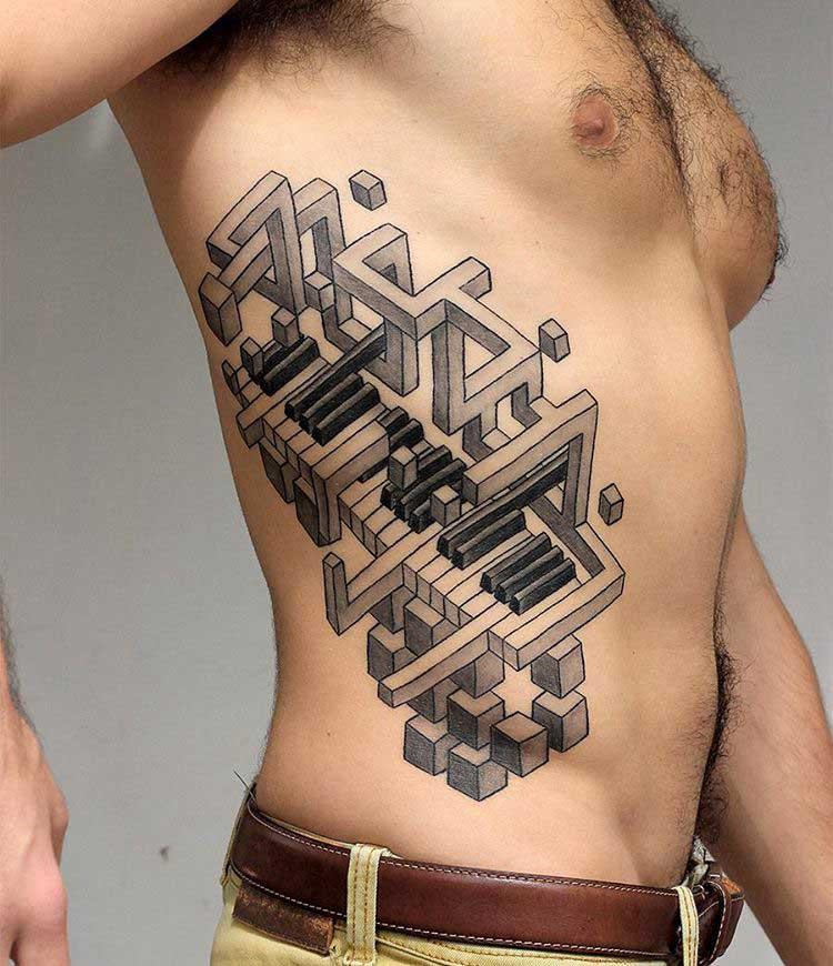 side 3D tattoo piano keyboard