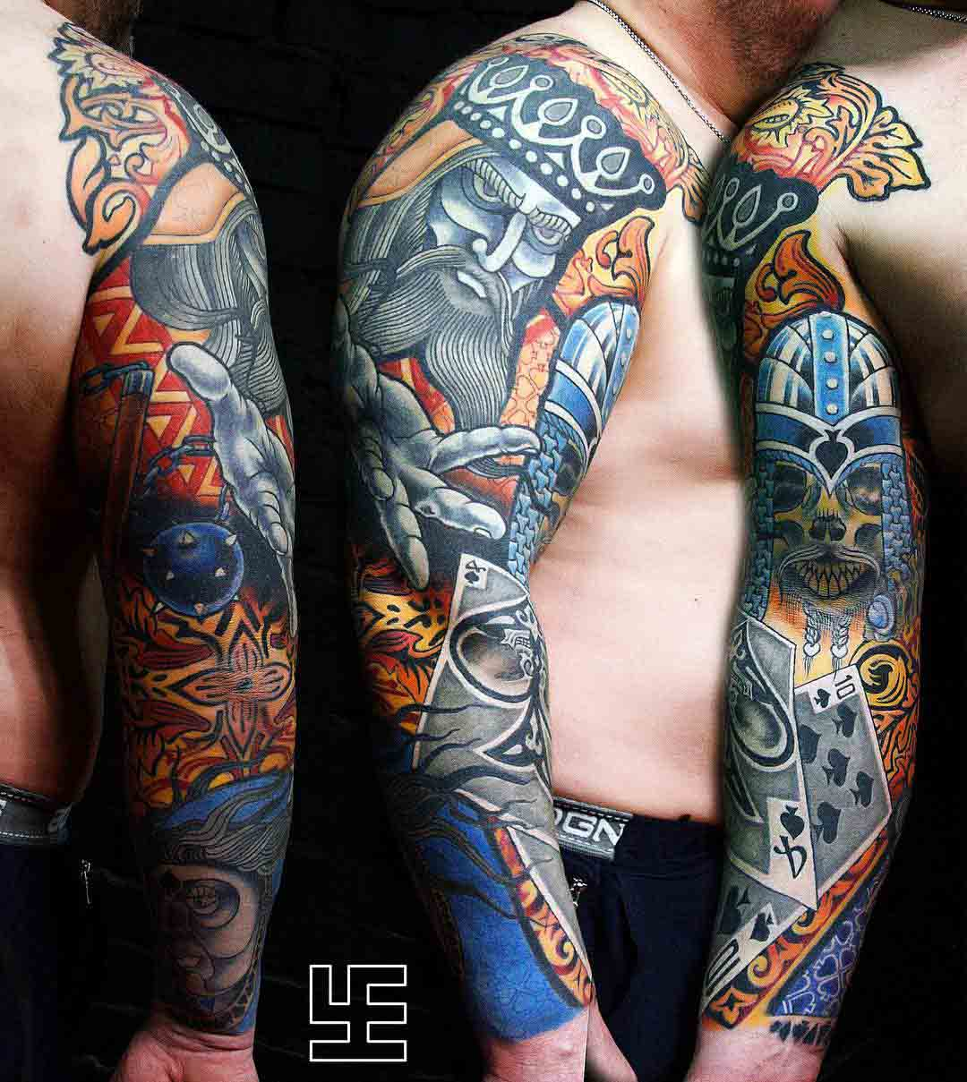 gambler tattoo cars full sleeve