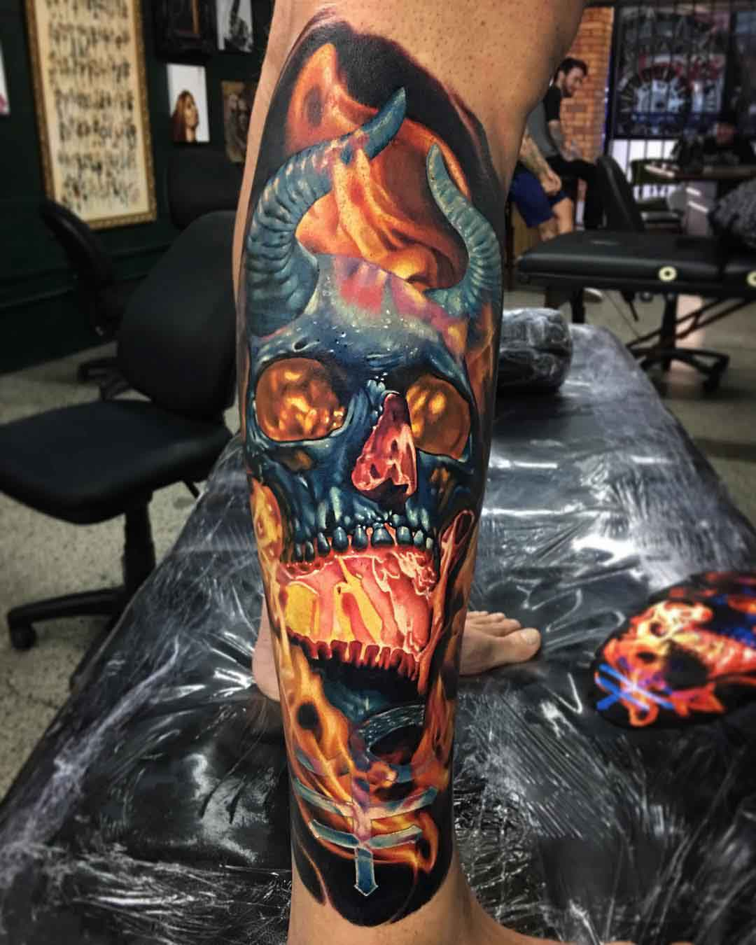 flaming skull tattoo demon