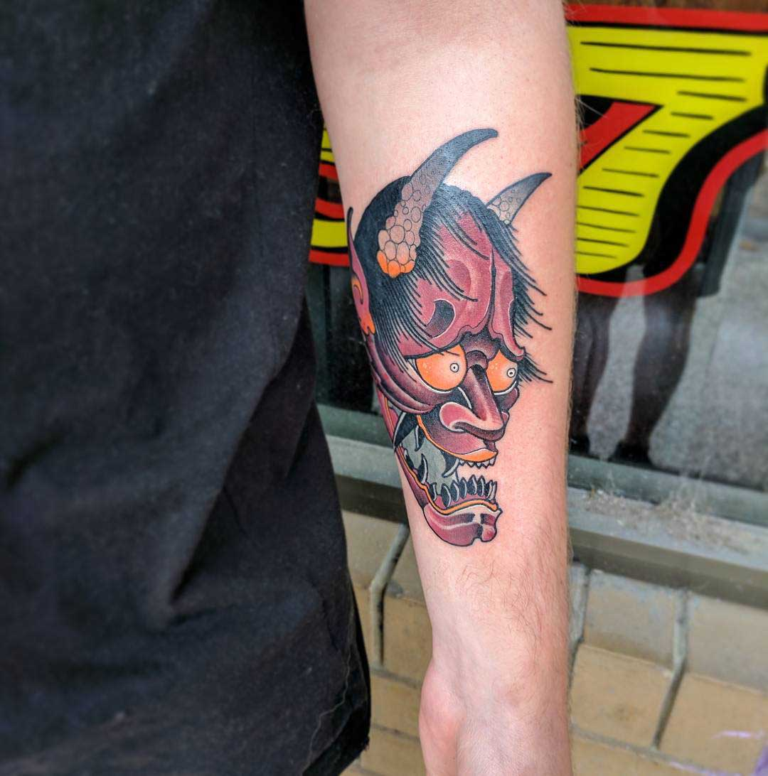 oriental mask tattoo neo-traditional style