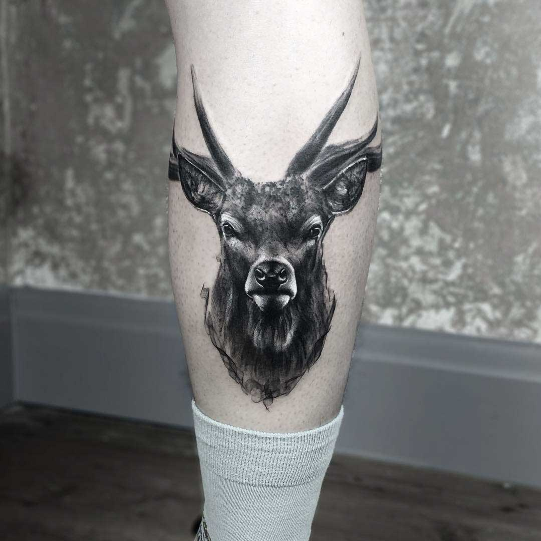 calf tattoo stag deer realism