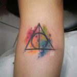 Deathly Hollows Watercolor Tattoo