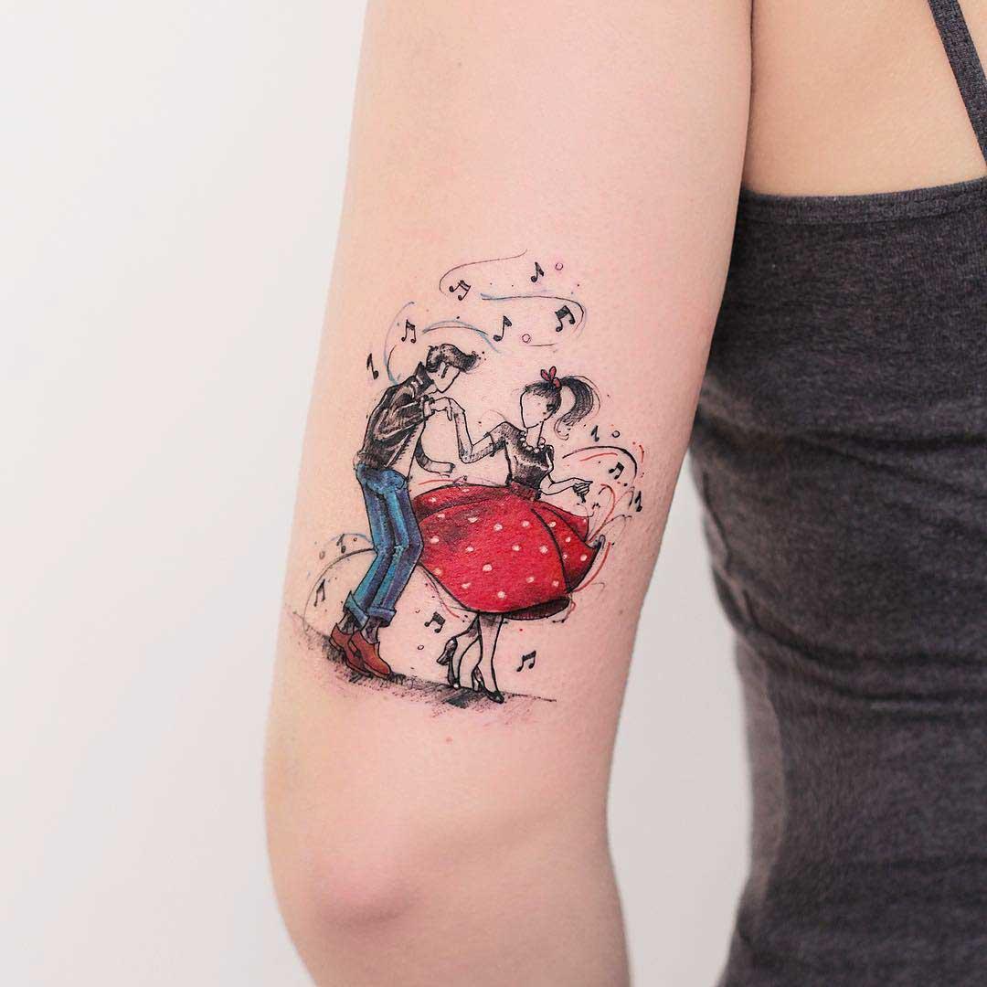 back arm tattoo rockabilly