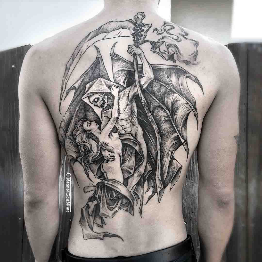 back tattoo angel of death