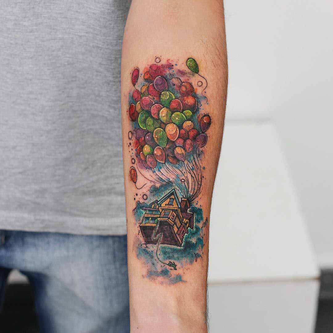watercolor tattoo Up