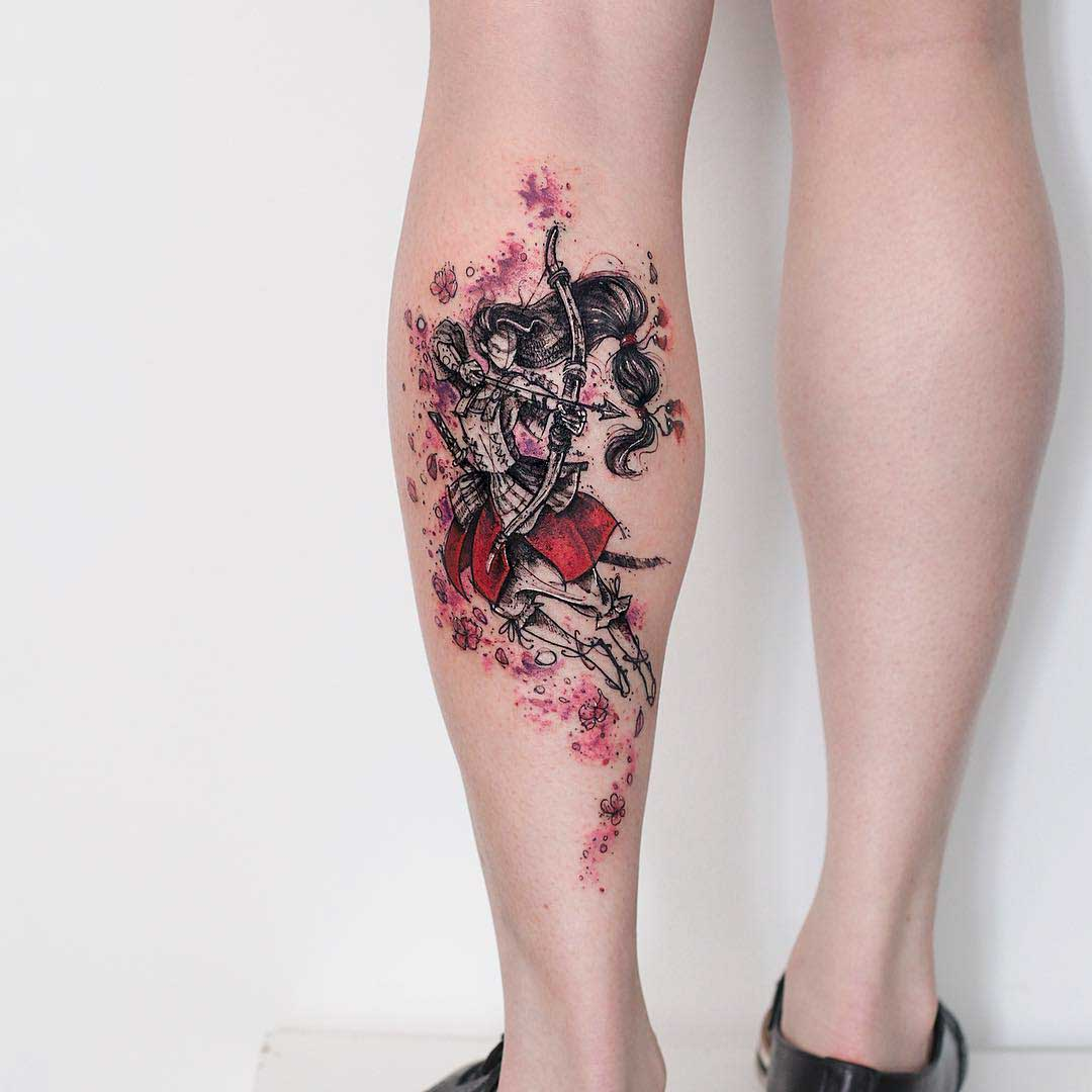calf tattoo archer