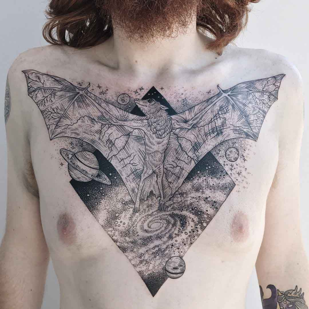 chest tattoo bat triangle
