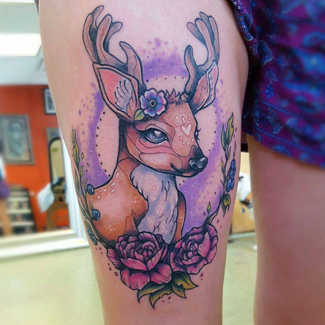 thigh tattoo deer colorful