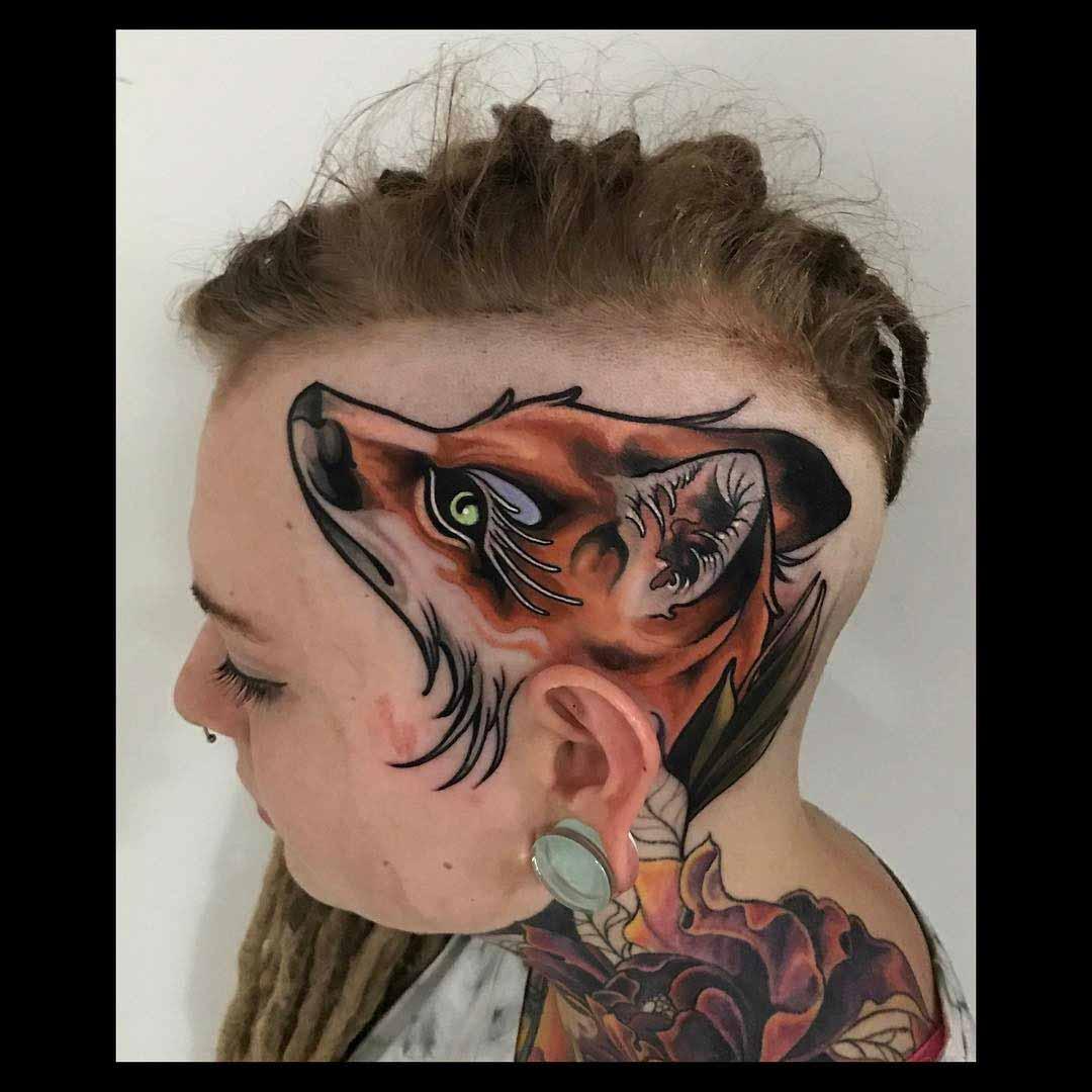 fox tattoo on head
