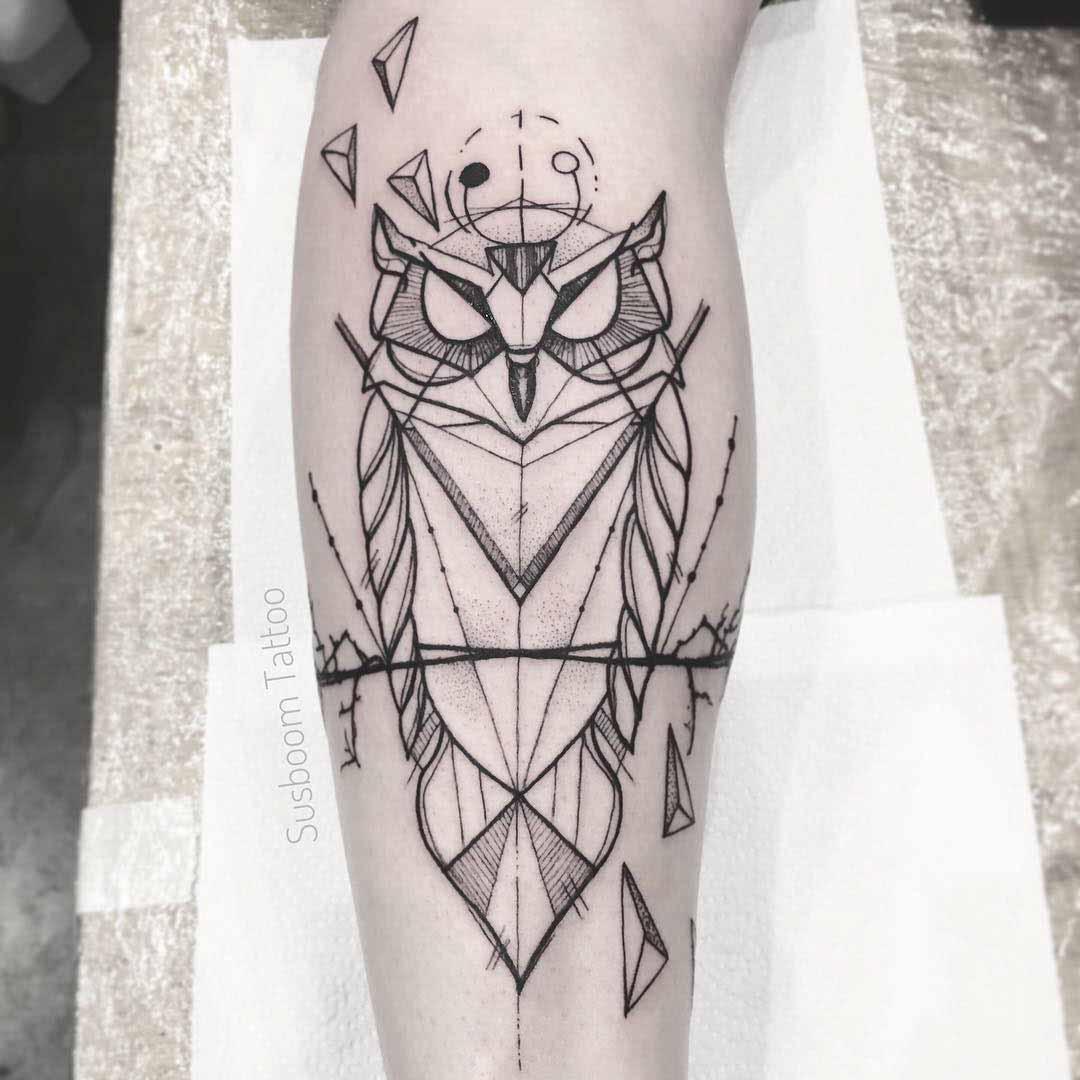 geometric owl tattoo polygonal