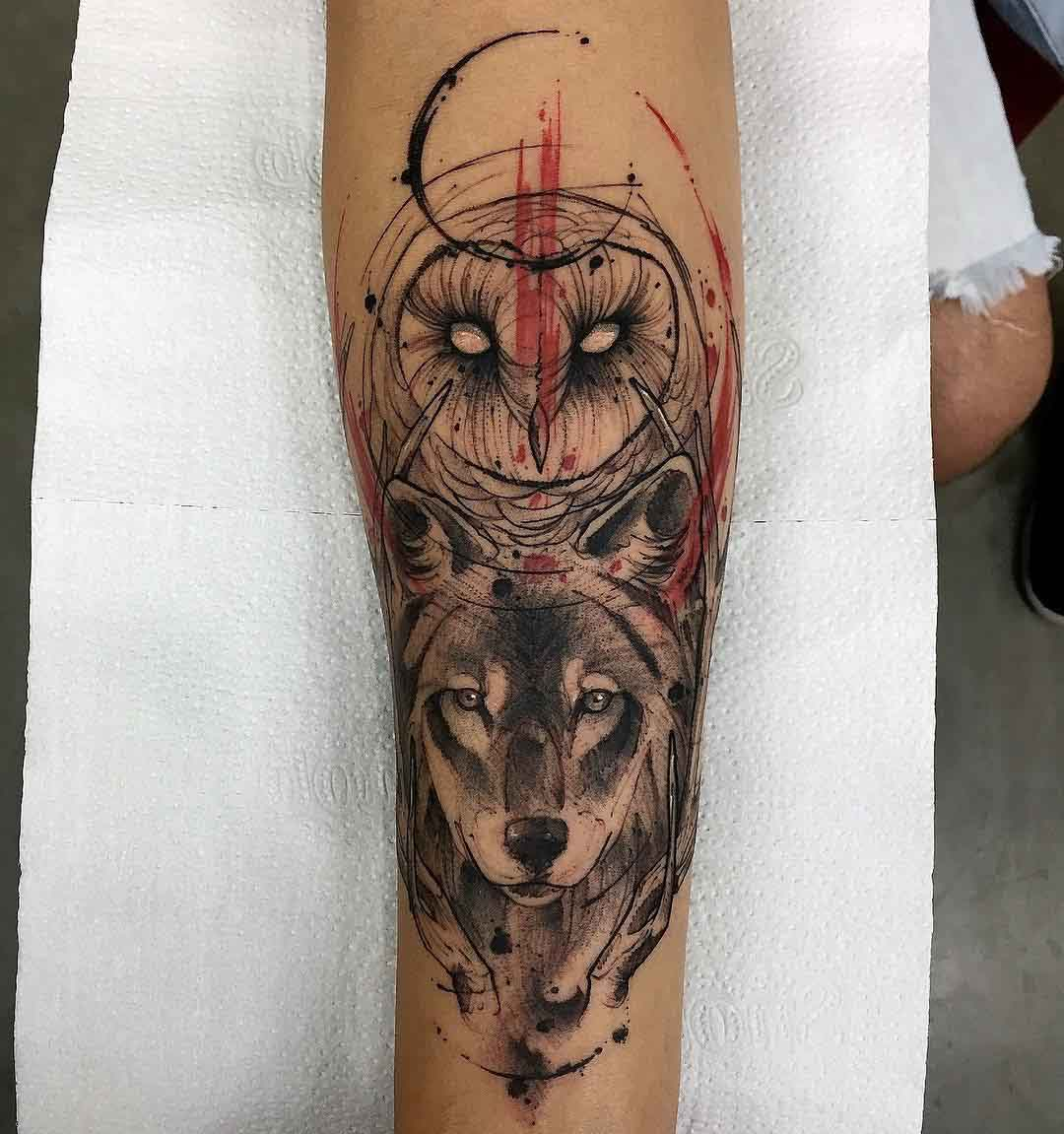 arm tattoo owl and wolf watercolor style