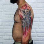 Sacred Elephant Tattoo on Shoulder
